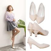 Ann'S細膩羊紋後跟金立體小蝴蝶尖頭低跟包鞋-米