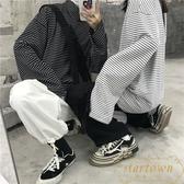網紅長袖T恤男女韓版寬松復古小高領條紋韓版打底衫【繁星小鎮】