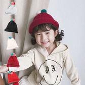 彩球捲邊保暖毛線帽 童帽 針織帽 毛線帽