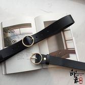 自留一款軟軟的PU皮帶可調節長度圓扣圓圈圓環腰帶女簡約百搭