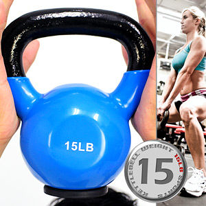 15LB壺鈴│KettleBell包膠15磅拉環啞鈴(實心鑄鐵+橡膠底座)6.8KG浸膠搖擺鈴舉重量訓練運動健身器材