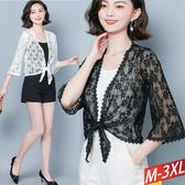 蕾絲鏤空綁帶外套(2色) M-3XL【393646W】【現+預】-流行前線-