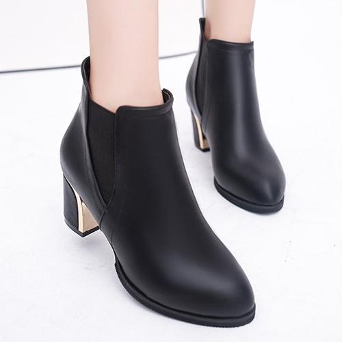靴子.歐美風拼接金屬高跟短靴.白鳥麗子