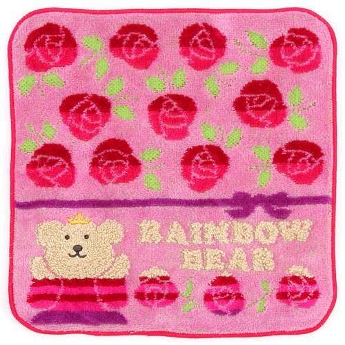 彩虹熊玫瑰小方巾