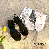 IN'SHOP 涼鞋-韓版唯美套趾細帶綁繩低跟涼鞋-共2色【KF00880】