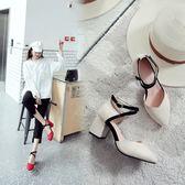 丁果、大尺碼女鞋34-46►2018春款韓版修腿絨皮尖頭交叉綁帶搭扣中跟涼鞋子*3色