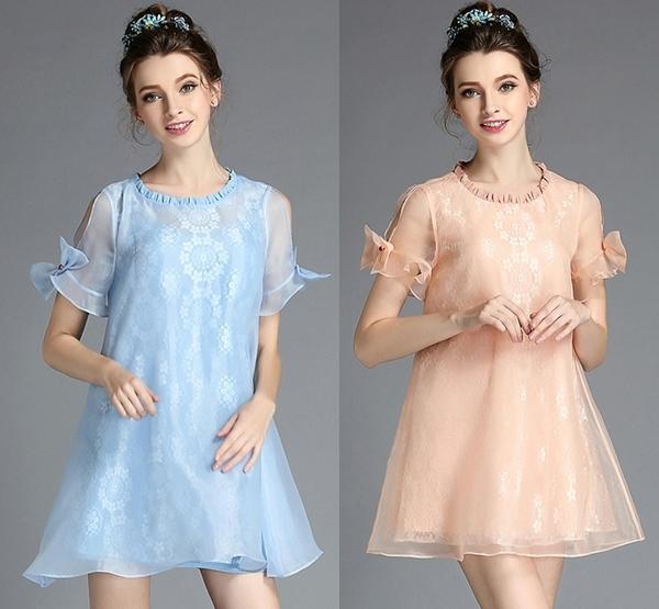 卡樂 store...小中大尺碼圓領蕾絲歐根紗蝴蝶結袖連身裙 2色 S-5XL #bl2279
