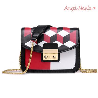 高品質熱賣BEIBAOBAO鍊條側背包-歐美風菱格幾何撞色迷你小包斜背包 (SBA0232) AngelNaNa