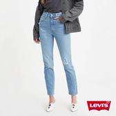 Levis 女款 501Skinny 高腰排釦緊身牛仔褲 / 微刷破細節 / 彈性布料