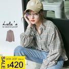 LULUS-D澎袖格紋襯衫-灰  現+預【01032315】