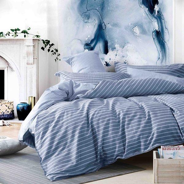 【NEW】Pure One -加大極致純棉【布魯斯-藍】三件式床包組