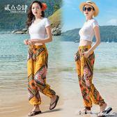 長褲 泰國印度尼泊爾民族風速干沙灘長褲子女夏大碼媽媽寬鬆闊腿燈籠褲 瑪麗蓮安
