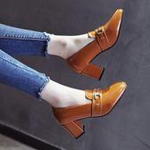 小皮鞋女百搭韓版鞋學院風高跟鞋女粗跟單鞋 格蘭小舖