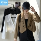 【V3317】shiny藍格子-時尚設計感‧純色顯瘦假口袋短款長袖西裝外套