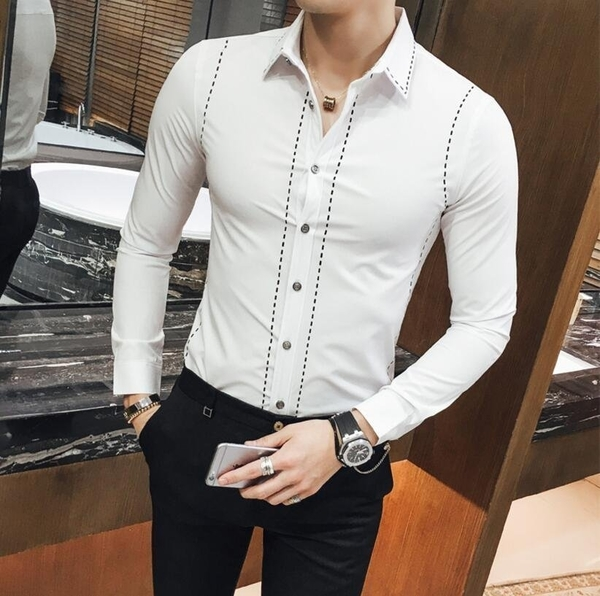 FINDSENSE品牌 男 時尚 潮 薄款 虛線印花 黑色 白色 修身 長袖襯衫