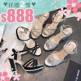 任選2雙888涼鞋韓版粗高跟亮皮涼鞋熟女風高跟鞋【02S8925】