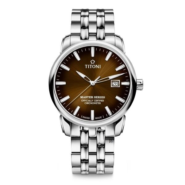 TITONI 梅花 大師系列 天文台認證機械錶 83188S-662 棕