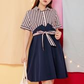Poly Lulu 條紋拼接傘擺襯衫式洋裝-藍【92310243】