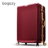 Bogazy 光燦炫影 29吋PC鋁框鏡面行李箱(暗紅配金)