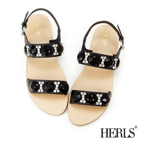 HERLS 涼鞋 璀璨寶石 平底鞋-黑色