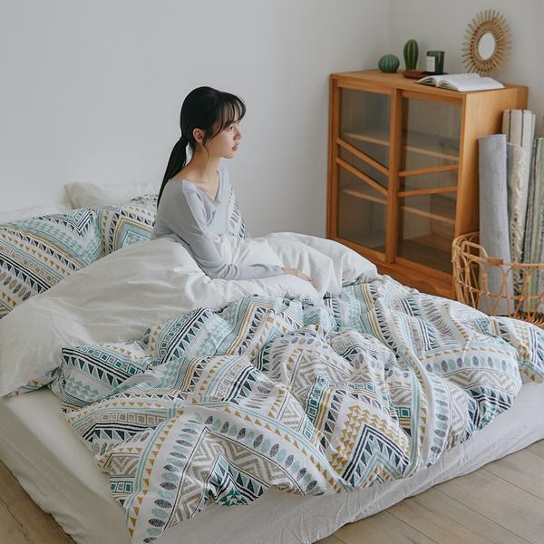 純棉 精梳純棉 床包被套組(薄) 雙人【莎夏】ikea風 100%精梳棉 翔仔居家