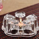 茶壺水晶底座 玻璃加熱保溫茶蠟燭台心形大號燒茶器 蠟燭保溫底座