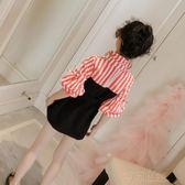 童裝女童洋氣洋裝女孩春秋裝新款中大兒童長袖條紋公主裙子 沸點奇跡