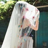 沙灘巾超大長款紗巾繡花絲巾女花朵圍巾披肩夏季旅游拍照海邊防曬沙灘巾 曼莎時尚