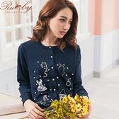 外套 露比設計小花亮片刺繡圖案針織外套-深藍色-Ruby s 露比午茶