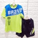 ☆棒棒糖童裝☆(E3010綠)夏男大童BRAVE拼色排汗套裝 120-170 台灣製造