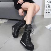 秋冬新款厚底短筒靴高跟機車短靴女內增高ins馬丁靴女靴 9號潮人館