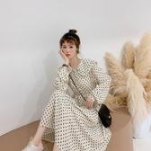 很仙的連身裙女裝春裝2019新款波點流行裙子小清新法國小眾仙女裙