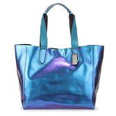 COACH 馬車LOGO素面金屬光感輕盈軟皮革肩背大托特包(藍紫色)195324-3