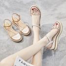 楔形鞋 坡跟涼鞋女夏2021新款百搭厚底鬆糕時裝仙女風ins潮羅馬高跟流行 韓國時尚 618