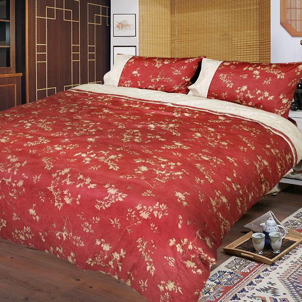 【FITNESS】精梳純棉單人床包+枕套二件組- 夕川織影(紅)