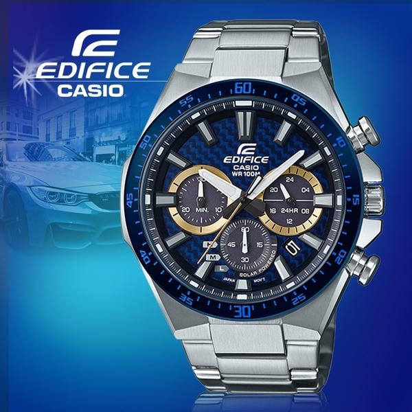 CASIO手錶專賣店 卡西歐 EQS-800BCD-2A EDIFICE 三眼計時男錶 不鏽鋼錶帶 太陽能電力 EQS-800BCD