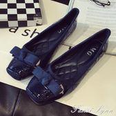 鞋子女春季新款韓版蝴蝶結百搭黑色方頭平底豆豆女鞋平跟大碼單鞋 范思蓮恩