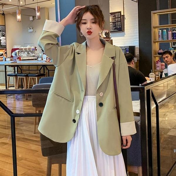 西装外套 春夏2020韓版寬鬆西裝外套女網紅ins設計感小眾綠色小西服上衣潮