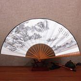 中國風10寸絲綢大絹扇子古風折扇雕刻手工藝禮品復古典男折疊扇竹