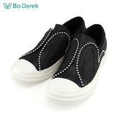 【Bo Derek 】金屬排列愛心珠飾休閒鞋-黑