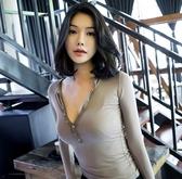 低胸性感上衣女士秋裝打底衫薄款透視舒適緊身款深V露胸T恤 居享優品