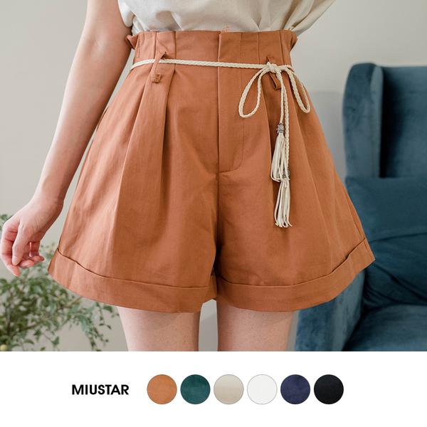 現貨-MIUSTAR 高腰A字鬆緊反摺斜紋短褲(共6色,S-L)【NJ1887】