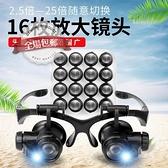 放大鏡 龍眼眼鏡式頭戴放大鏡雙目帶燈修理鐘表10倍15倍20倍25倍高清高倍 米家
