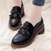 皮鞋 牛津鞋原宿小皮鞋女夏季中跟黑色樂福鞋粗跟韓版百搭學生女鞋子 瑪麗蘇
