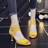 魚口鞋 歐美露趾細跟彈力布涼鞋女2021春夏新款韓版針織涼靴子魚口鞋 風尚