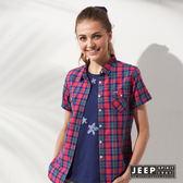 【JEEP】女裝 美式休閒彩色格紋短袖襯衫 (紅色)