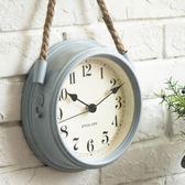北歐現代簡約鐘表超靜音臥室掛鐘客廳鐵藝金屬鐘表個性創意石英鐘  居家物語