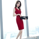 無袖洋裝 夏季女裝2021新款時尚氣質通勤職業OL無袖V領顯瘦修身包臀連衣裙 618大促銷