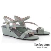 Keeley Ann夏季定番 鱷魚紋環繞帶楔型涼鞋(綠色) -Ann系列