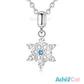 925純銀項鍊 AchiCat 冰晶雪花 藍鋯 鎖骨鍊 送刻字 聖誕節禮物